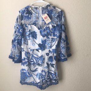 NWT Entro Blue Lace Floral Romper Size L